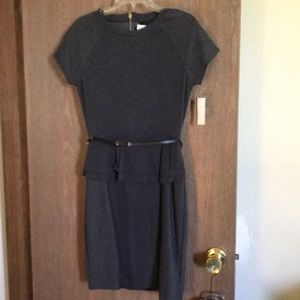 Gray belted  knit dress with peplum